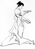 lady holding plate hand drawn in sumi-e style