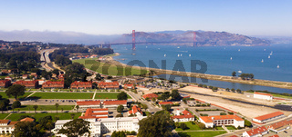 Aerial View San Francisco Bay Golden Gate Bridge California