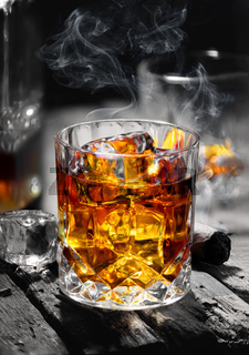 Whiskey on an old table