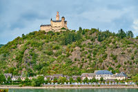 Marksburg castle on Rhine river in Germany