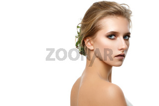 beautiful dark blonde girl with natural makeup isolated on white