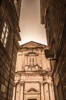 Facade of old historical building in Dubrovnik