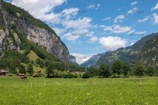 View valley of waterfalls in national park of city Lauterbrunnen, Switzerland