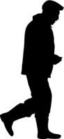 Silhouette man standing, people on white background