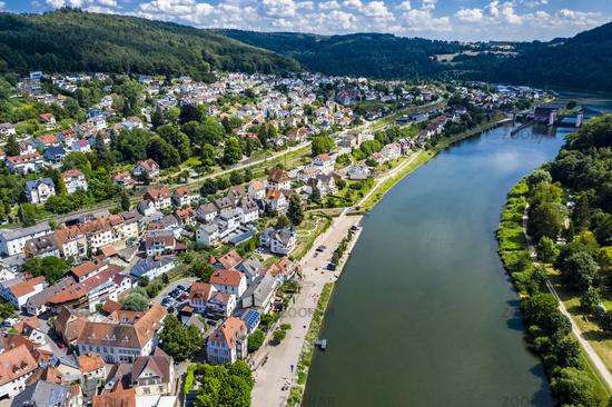 Aerial view of the Vierburgeneck near Neckarsteinach, Baden-Württemberg, Germany