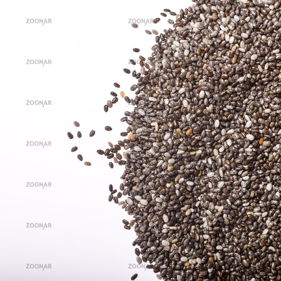 Raw Chia seeds closeup on white background