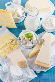 Different types of dairy products on wooden background