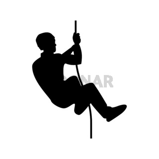 Rock climber icon black color illustration flat style simple image