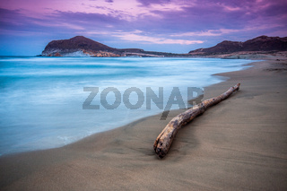 End of day the Genoveses beach and sea-Spain-Almeria-Cabo de Gata natural park