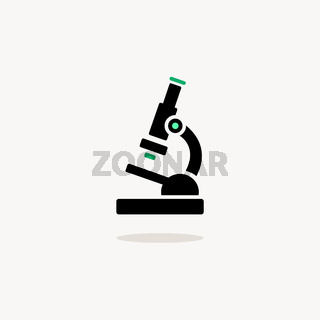 Microscope. Icon with shadow on a beige background. Pharmacy vector illustration