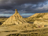 Cabezo de Castildetierra sandstone formation in Bardenas Reales semi-desert natural region in Spain