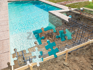 Puzzle Pieces Fitting Together Revealing Finished Pool Build Over Construction