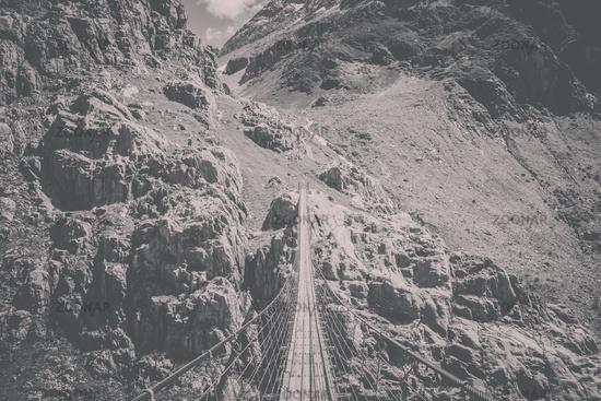 Panorama view of Trift Bridge in national park Switzerland