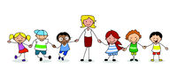 kindergarten group of children with female teacher holding hands -