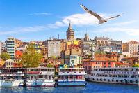 Ships near the Karakoy pier in Istanbul, Turkey