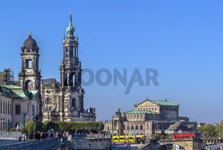 view of Dresden cathedral and Semperoper, Dresden, Germany