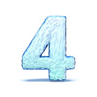 Ice crystal font Number 4 FOUR 3D