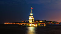 Famous Maiden's Tower in Istanbul, night lights