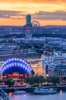 Aerial view during sunset of the cityscape of Cologne