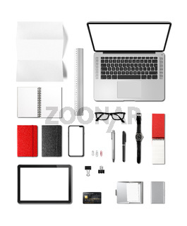 Office desk branding mockup top view isolated on white