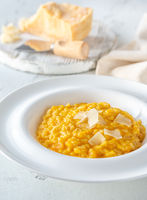 Portion of pumpkin risotto