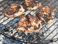 Pork chops on a grill