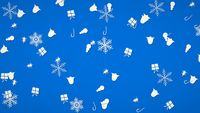 White snowflakes, bells, snowman and gift random pattern