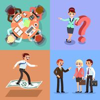 Set of business illustration. Working men and women.