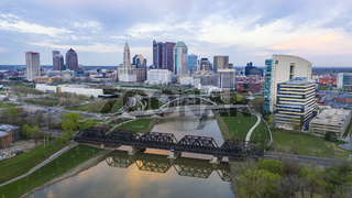 Aerial View over the Columbus Ohio Skyline Featuring Scioto River