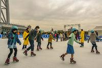 People Skating on Ice, Tokyo, Japan
