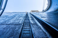 View upwards inside the very deep lock of the Barrapatelo dam on River Douro in Portugal