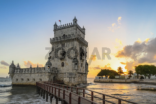 Lisbon Portugal sunset city skyline at Belem Tower and Tagus River