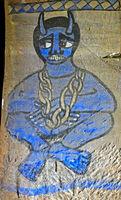 Blaues Fresko mit der Darstellung eines in Ketten gelegtenTeufels, Felsenkirche Abuna Gebre Mikael,