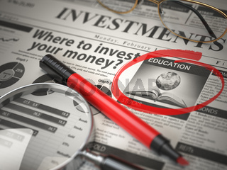 Education is a best option to invest. Where to Invest concept, Investmets newspaper with loupe and marker.