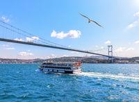 Cruise ship under the Bosphorus bridge, Istanbul, Turkey