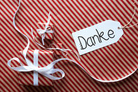 Three Gifts, Wrapping Paper, Label Danke Means Thank You
