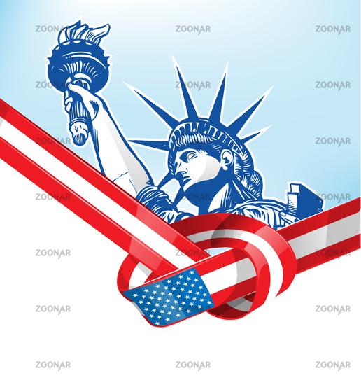 USA flag with statue of liberty. vetcor illustration
