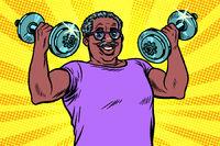 elderly african man lifts dumbbells, fitness sport