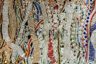 Vintage style bracelets for sale at a flea market.