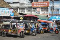 THAILAND ISAN SURIN MARKET BICYCLE RIKSHA TAXI