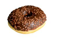 Doughnut with chocolate glaze isolated on a white background