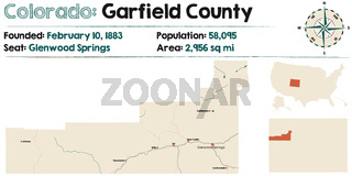 Map of Garfield County in Colorado