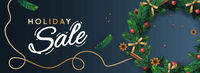 Holiday Sale banner. Christmas horizontal background, header for website. Xmas background, design with realistic Christmas wreath, vector illustration