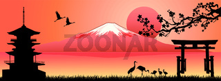 Landscape, Mount Fuji at sunset