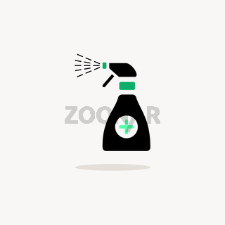 Sanitizer spray. Icon with shadow on a beige background. Pharmacy vector illustration