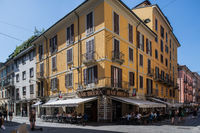 Milan, Italy - 30 June 2019: View of Zona Brera, italian oldtown street