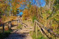 Wanderweg in Vitt am Kap Arkona, Insel Rügen in Deutschland - hiking trail village Vitt near Kap Arkona, Ruegen Island in Germany
