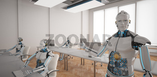 Humanoid Robots Open Space Office