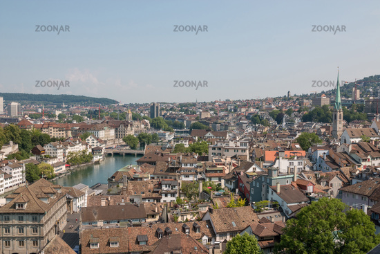 Aerial view of historic Zurich city center from Grossmunster Church