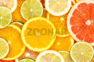 Citrus fruits collection food background oranges lemons limes grapefruit fresh fruit